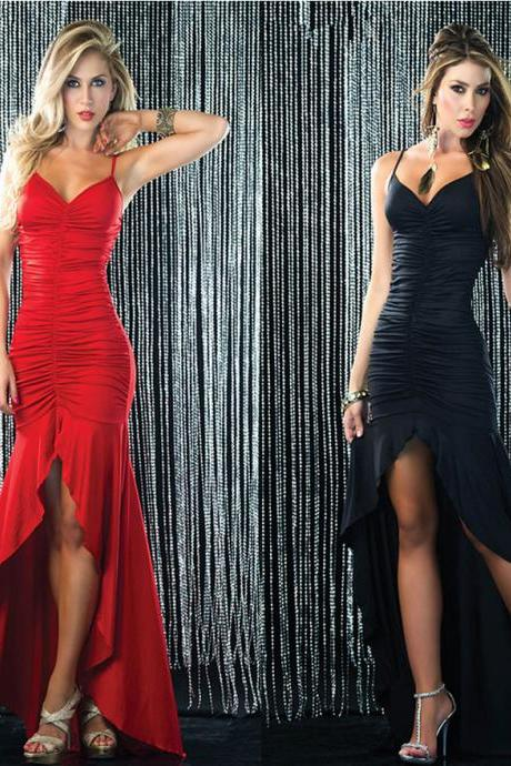 Sexy Women Sleeveless backless black Red Club Evening Cocktail Party Long Dress