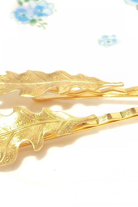Medium Gold Leaf Bobby Pin Set - Woodland
