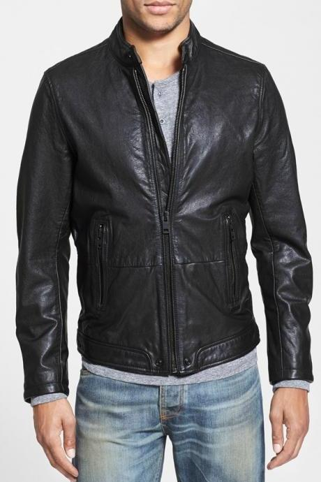 Handmade Custom New Men Simple Classic Vitage Biker Leather Jacket, men leather jacket, Leather jacket for men, Biker Leather Jacket, Motorcycle Jacket