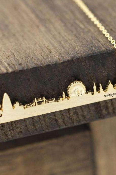 Cityscape Necklace, Skyline Necklace- London Necklace in 3 colors, N0384K