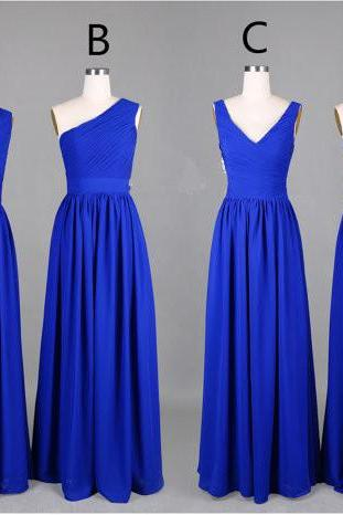 Elegant Handmade Blue Chiffon Long Bridesmaid Dresses, Bridesmaid Gown, Prom Dresses 2015, Blue Formal Dresses, Weddings