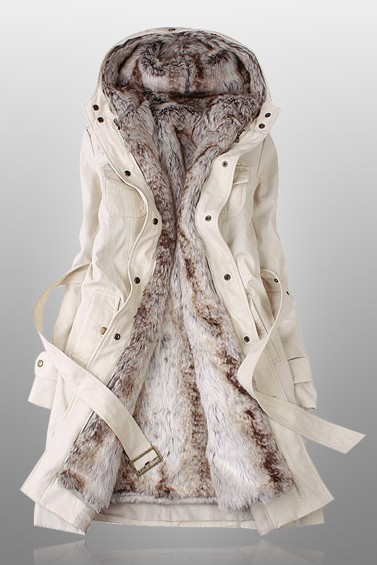 Beige Parka With Faux Fur Inner YU02