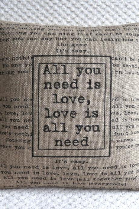 The Beatles Song All You Need Is Love Burlap Pillow Cover