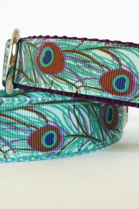 Dog Collar - 'Peacock' in Shades of Aqua, Blue, and Purple (one inch wide)