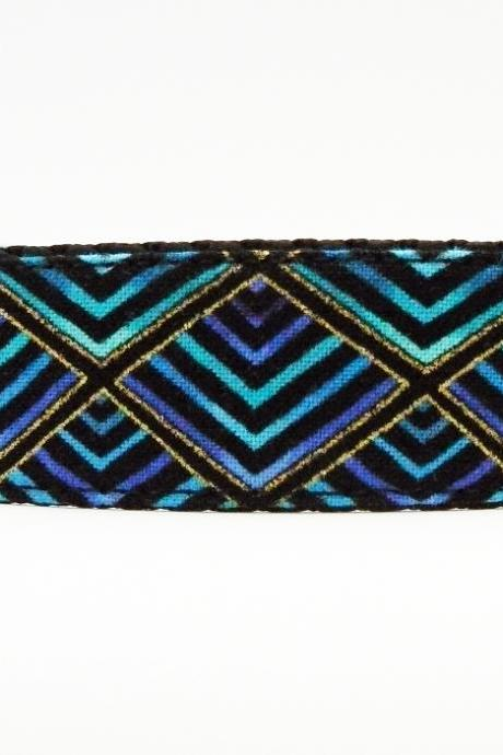Dog Collar - 'Shake Your Tail Feather' So Cute in Shades of Peacock Plumage