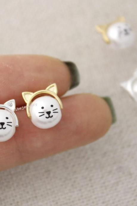 Cute Cat Face with Pearl Pendant Earrings in 2 colors, E0383G