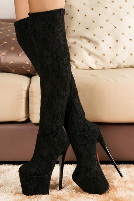 Single sexy lace waterproof boots KL0114BA