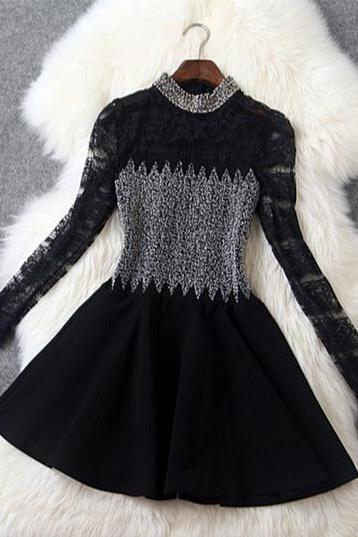 Slim beaded lace long-sleeved dress GR11404UY