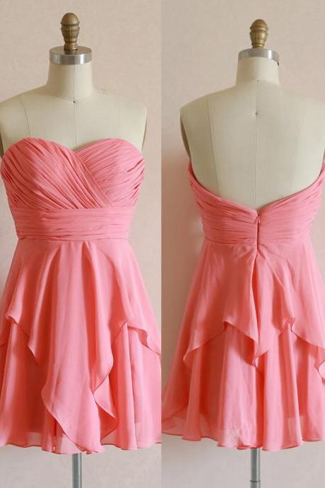 Ruched Chiffon Sweetheart Short Ruffled Homecoming Dress, Prom Dress