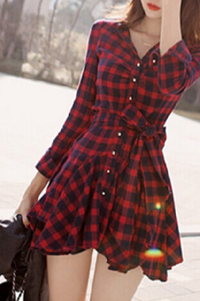 Retro plaid long-sleeved dress SD11407EY