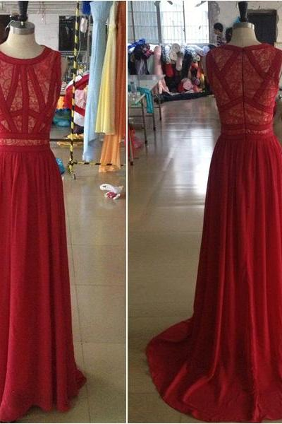Pretty Charming Red Evening Dress,Prom Dress for prom, O-Neck Prom Dress,Sleeveless Prom Dress,Dresses For Evening,
