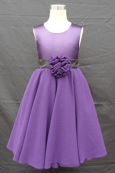 satin and chiffon organza flower girl dress with sash,Sleeveless flower girl dress,