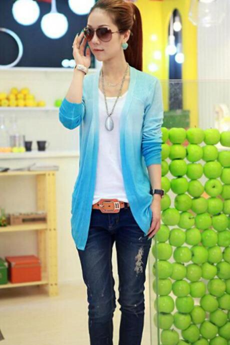 Gradient Change Color Women Irregular Hem Long Sleeve Cardigan Tops Sweaters Coat