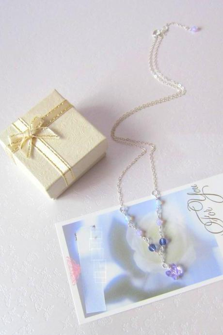 Purple Fluttery Gems Necklace - 925 Silver, Moonstone, Swarovski Crystals & Butterfly