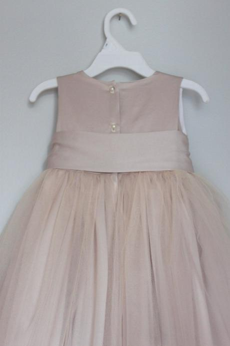 Champagne satin and Tulle flower girl dress with sash,Sleeveless flower girl dress,