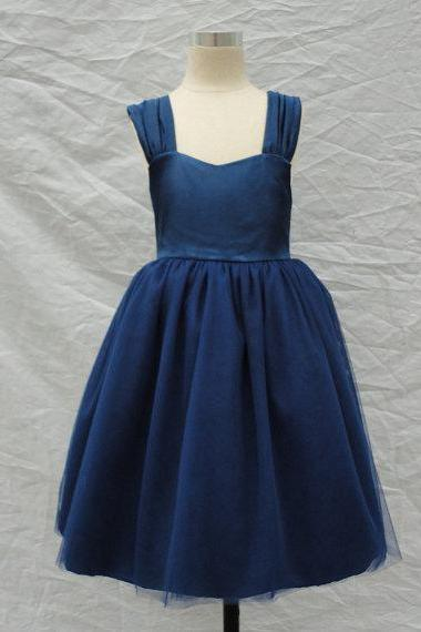 navy blue Spaghetti Strap Tulle flower girl dress with sash,Sleeveless flower girl dress,