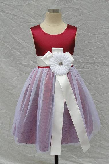 Wine Red Top Satin With Tulle Skirt White flower girl dress with sash,Sleeveless flower girl dress,
