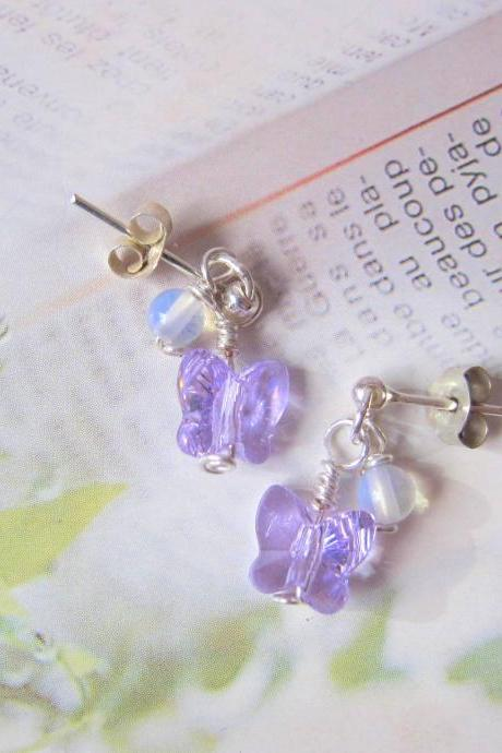 Purple Fluttery Gems Earrings- 925 Silver pierce, MoonStone & Butterfly Swarovski Crystal