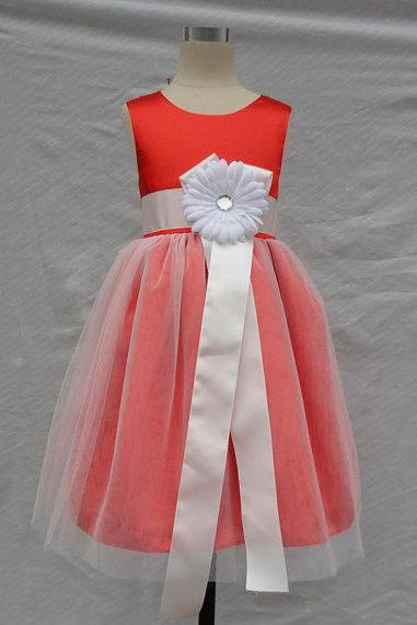 Red Top Satin With Tulle Skirt White flower girl dress with sash,Sleeveless flower girl dress,