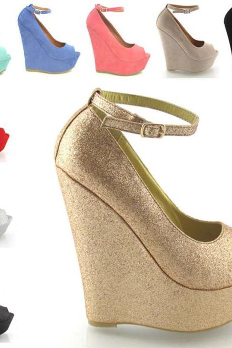 LADIES HIGH HEEL PLATFORM WOMENS PEEP TOE ANKLE STRAP WEDGE SHOES