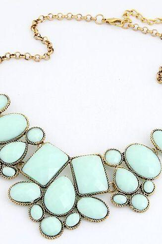 Vintage jewelry statement fashion blue woman necklace
