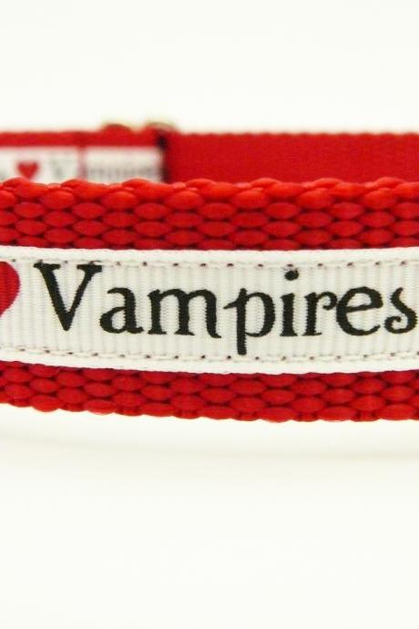Dog Collar - 'Vampire Love' So Cute for Fans of Twilight, True Blood, etc.