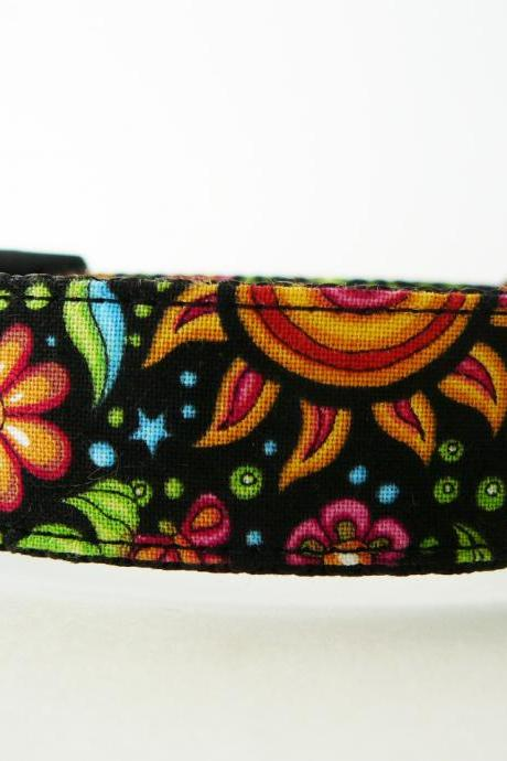 Dog Collar - 'Cosmic Garden' Pretty Dog Collar with Sun, Moon, Stars, Flowers, and Butterflies