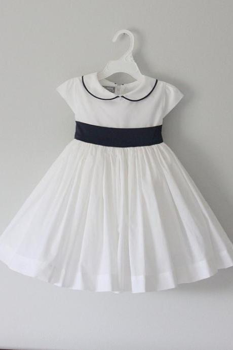 ivory flower girl dress with black sash,Sleeveless Round collar flower girl dress