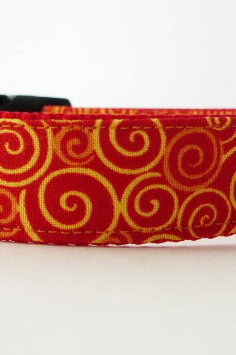Dog Collar - 'Sizzle' with Bright Colorful Swirls of Orange and Yellow