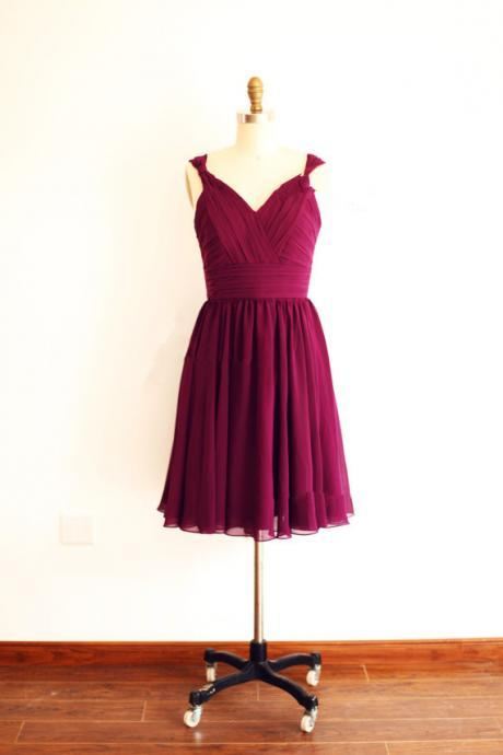 Simple and Lovely Burgundy Knee Length Chiffon Bridesmaid Dresses, Short Chiffon Bridesmaid Dresses, Burgundy Formal Dresses. Weddings