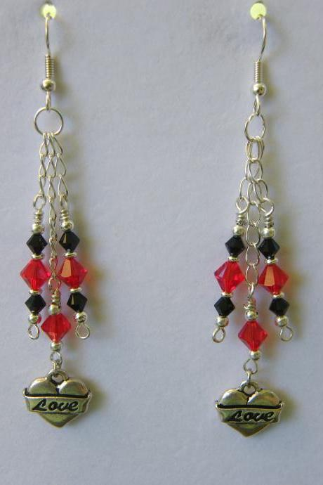 Earrings, Red & Black Swarovski Crystals with Love Charm