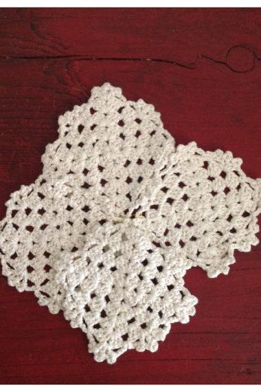 Granny Crochet Vintage Style Knitted coasters set of four Retro Kitchen