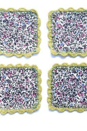 Vintage Granny Fabric Tint Flowers and crochet coasters (set of 4) Mug Rugs - Soft green