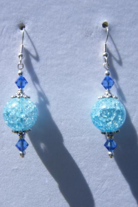 Earrings, Blue Cracked Glass, Swarovski Crystal