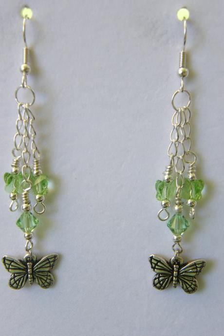 Earrings, Dangle Peridot, Butterfly