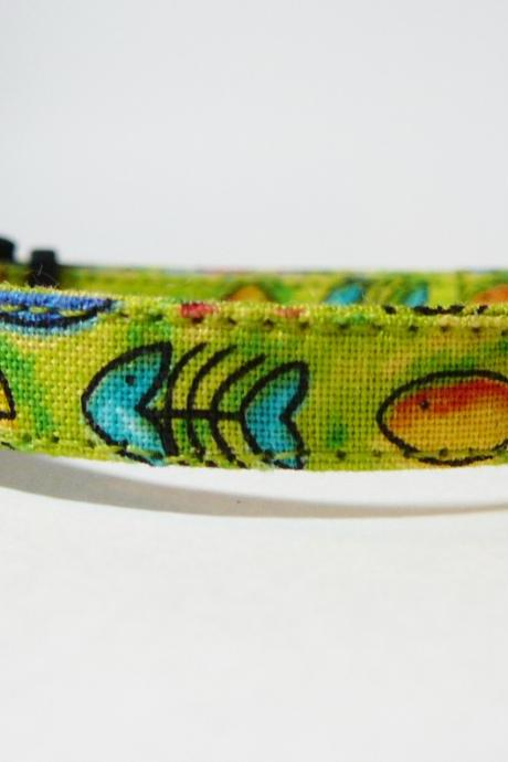 If Wishes Were Fishes (Green) - Cute Cat or Kitten Collar with Colorful Fish Motif