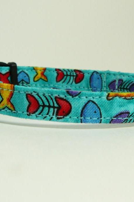 If Wishes Were Fishes (Blue) - Cute Cat or Kitten Collar with Colorful Fish Motif