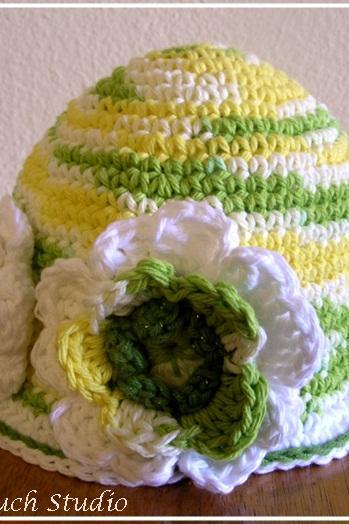 PATTERN. Toddler, Girl Flower Hat in White , cotton cloche