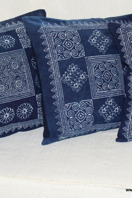 Hmong Pillow Cushion Cover in Natural Indigo Batik 3 Styles