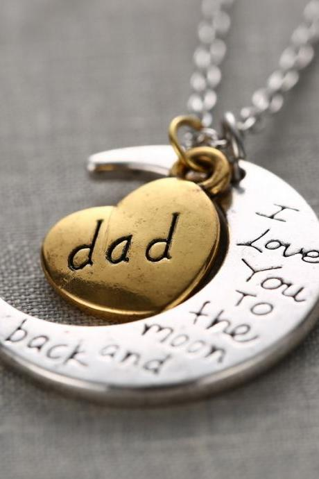 Fashion High Quality Non-fading Moon and Heart Dad Pendant Chain Necklace as Gift