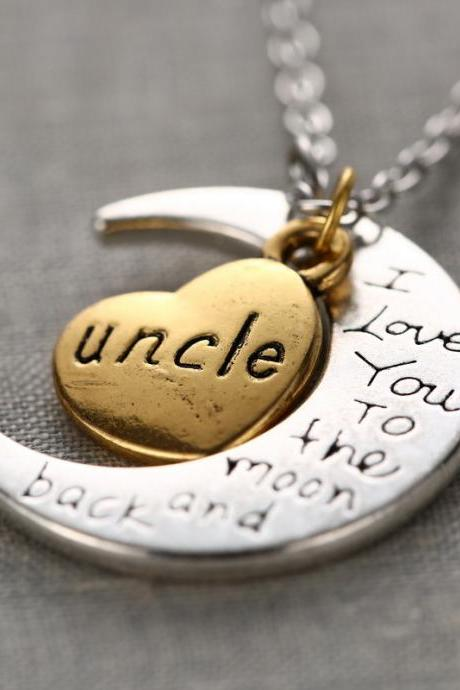 Fashion High Quality Non-fading Moon and Heart Uncle Pendant Chain Necklace as Gift