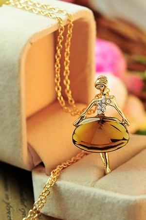 Elegant Fashion Cute Crystal Ballet Girl Diamond Pendant Chain Necklace