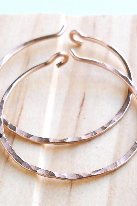 Rose Gold Filled Hammered Hoop Earrings