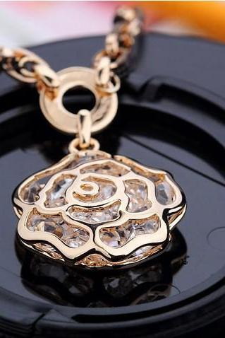 Fashion Elegant Hollow Rose Crystal Ball Pendant Chain Sweater Chain Necklace