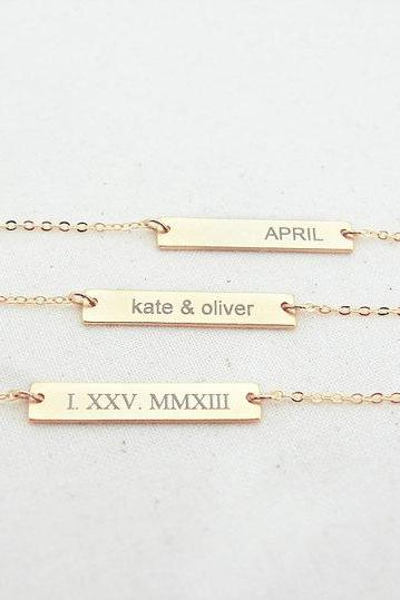 Message Bar Necklace, Personalized Necklace, Laser Engraving Initial Necklace