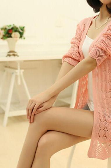 Women Casual Long Sleeve Cardigan Hollow Knit Knitwear Sweater Coat Outwear