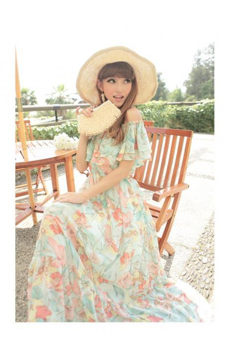 The new Bohemia beach collar dress elegant sexy Strapless Chiffon Dress goddess van women's summer