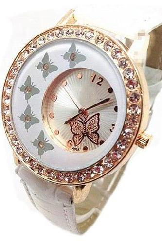 Butterfly rhinestones small face dress white girl watch