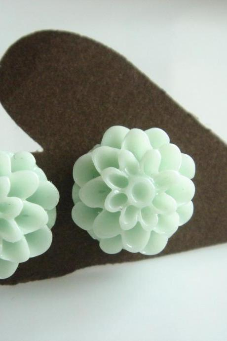 Mint Beach Theme Wedding Dahlia Stud Earrings