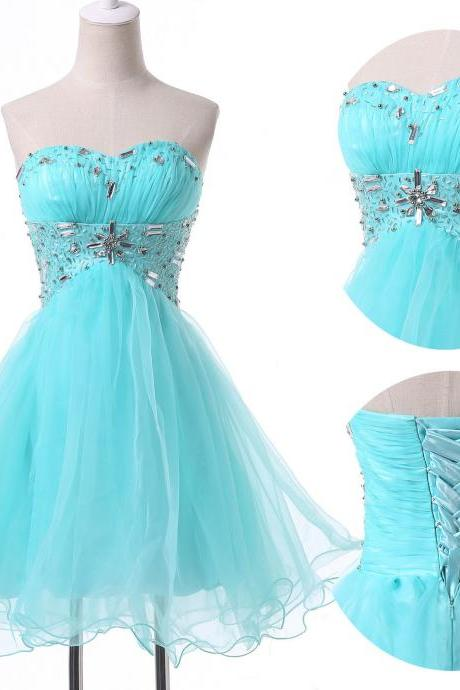 lace up back short homecoming dress,CHEAP NEW Homecoming Dresses Short Dress Pageant Beaded Prom Ball Evening Dress,blue tulle dress with bead ,blue short homecoming dress with bead